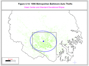 Figure 4.14 from CrimeStat III -- points representing locations of car thefts in Baltimore, with an ellipse indicating the highest density of thefts.