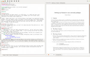 Screenshot of Gummi -- LaTeX code on left, preview on right